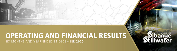 Sibanye-Stillwater | Results for the six months ended 30 June 2020