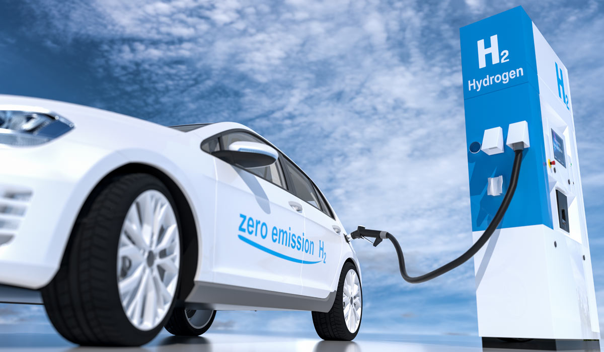 Rendering of vehicle at hydrogen energy refilling station